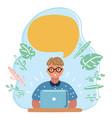 nerd little boy geek thinking vector image vector image