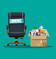 office chair sign vacancy box with office itmes vector image vector image