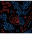 old school tattoo neon line pattern vector image