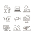 Outline webinar icon set Online training and vector image vector image