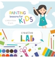 Painting lessons Kids creativity Lab vector image vector image