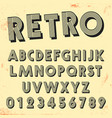 retro line font template set of vintage letters vector image