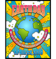 retro psychedelic earth day poster banner design vector image vector image
