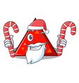 santa with candy triangel mascot cartoon style vector image vector image