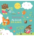 set cartoon characters and spring elements vector image vector image