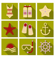 set of cute summer icons bright summertime poster vector image vector image