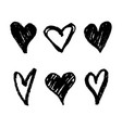 set with abstract hand drawn hearts decoration vector image