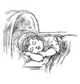 sleeping a child in this picture vintage engraving vector image vector image