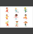 small kids playing sportive games and enjoying vector image vector image