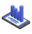 smartphone chart icon isometric style vector image vector image