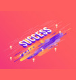 success isometric gradient text design on abstract vector image