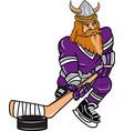 viking sports logo mascot hockey vector image vector image