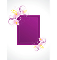 violet frame with pink flowers vector image vector image