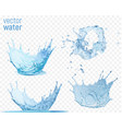 water splashes on transparent blue background vector image