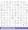 100 exchange icons set outline style vector image