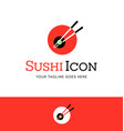 abstract circle sushi logo with chopsticks vector image vector image