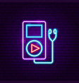 audio player neon label vector image