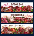 banners with fresh meat vector image