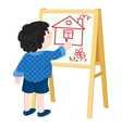 Boy drawing house vector image vector image