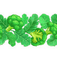 broccoli plant pattern on white background vector image