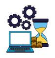 business laptop hourglass coins money gears vector image vector image