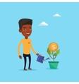 Businessman watering money flower vector image vector image