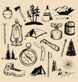 camping sketched elements set of vintage vector image vector image