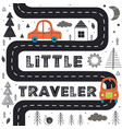 car on the road in scandinavian style vector image vector image