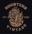 chicken rooster logo vintage tattoo vector image vector image