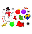 christmas icon set symbol design winter isolated vector image vector image
