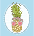Cute hipster pineapple with sunglasses and flower vector image vector image