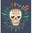 day dead skull with floral ornament vector image vector image