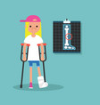 disabled blond girl on crutches with broken leg vector image vector image