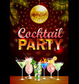 Disco cocktail party vintage poster vector image