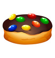Doughnut with chocolate frosting vector image vector image