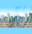 drawing image highway background of city vector image vector image