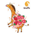 fancy waffle dessert in the form of a giraffe with vector image