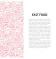fast food line pattern concept vector image vector image