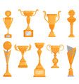 flat golden goblet icon set in flat style vector image