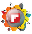 flipboard logo inside a bubble with colorful vector image vector image