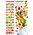 fruits and berries vitamins complex vector image vector image