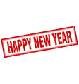 happy new year red square grunge stamp on white vector image vector image