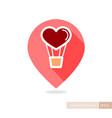 heart air balloon thin line pin map icon vector image