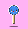 kawaii candy lollipop character cartoon emoticon vector image vector image