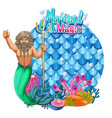 merman carton character with blank pastel scales vector image