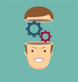 open minded man with cogwheel inside conceptual vector image