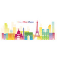paris france landmarks skyline colourful colour vector image vector image