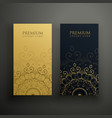 premium mandala cards in gold and black colors vector image vector image