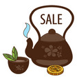 sale teapot with a cup of tea colored for design vector image vector image