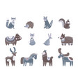scandinavian characters kids animals nordic wolf vector image vector image